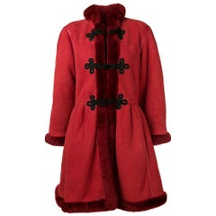 1980s Mario Borsato Red Sheepskin Coat