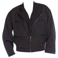 1980S MARITHE FRANCOIS GIRBAUD Grey Rayon & Wool Gabardine Men's Gaultier Style
