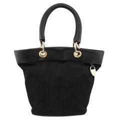 1980s Mark Cross Black Nylon Bucket Bag