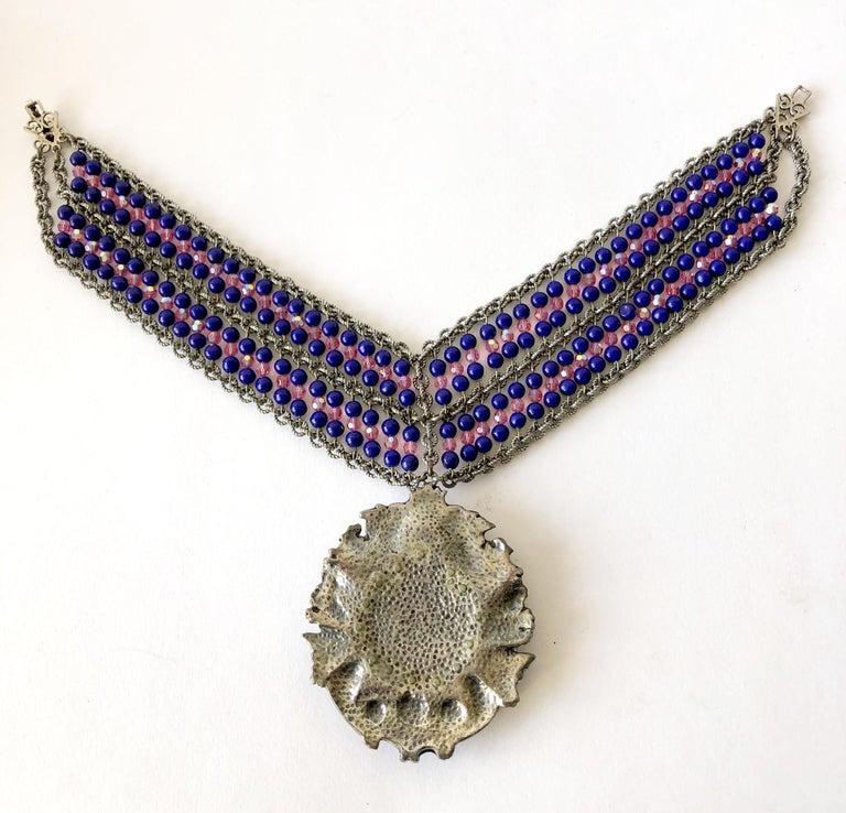 Artist 1980s Mark Merrill Vintage Glass Bead Medallion Necklace For Sale