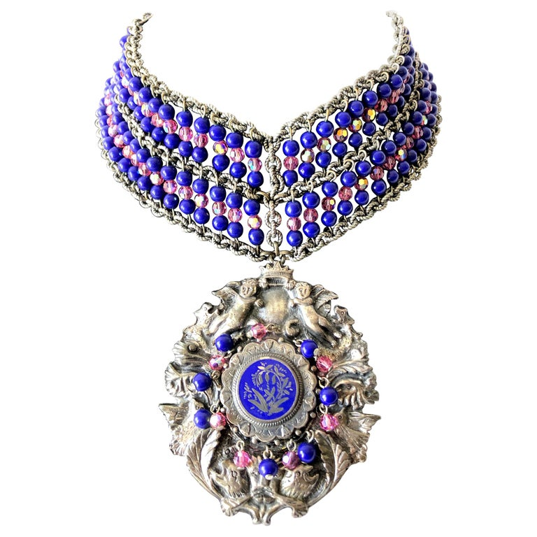 1980s Mark Merrill Vintage Glass Bead Medallion Necklace For Sale