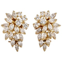 1980s Marquise Diamond Cluster Floral Clip-On Gold Earrings