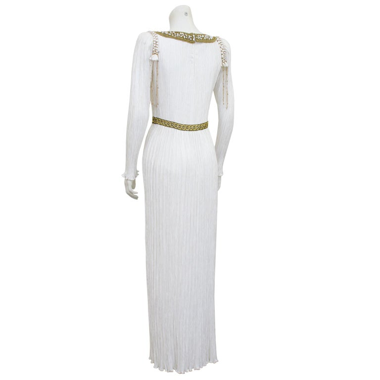 1980s Mary McFadden White Jewel Trimmed Micro Pleated Gown  In Good Condition For Sale In Toronto, Ontario