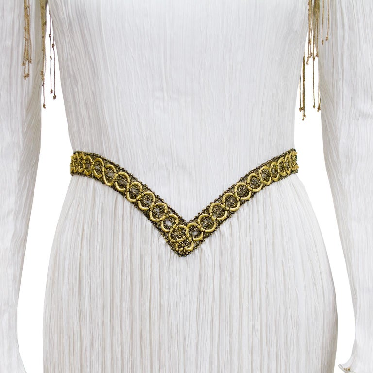 1980s Mary McFadden White Jewel Trimmed Micro Pleated Gown  For Sale 1