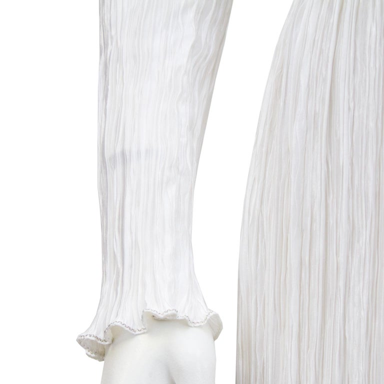 1980s Mary McFadden White Jewel Trimmed Micro Pleated Gown  For Sale 2