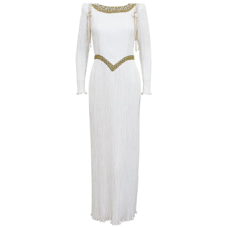 1980s Mary McFadden White Jewel Trimmed Micro Pleated Gown  For Sale