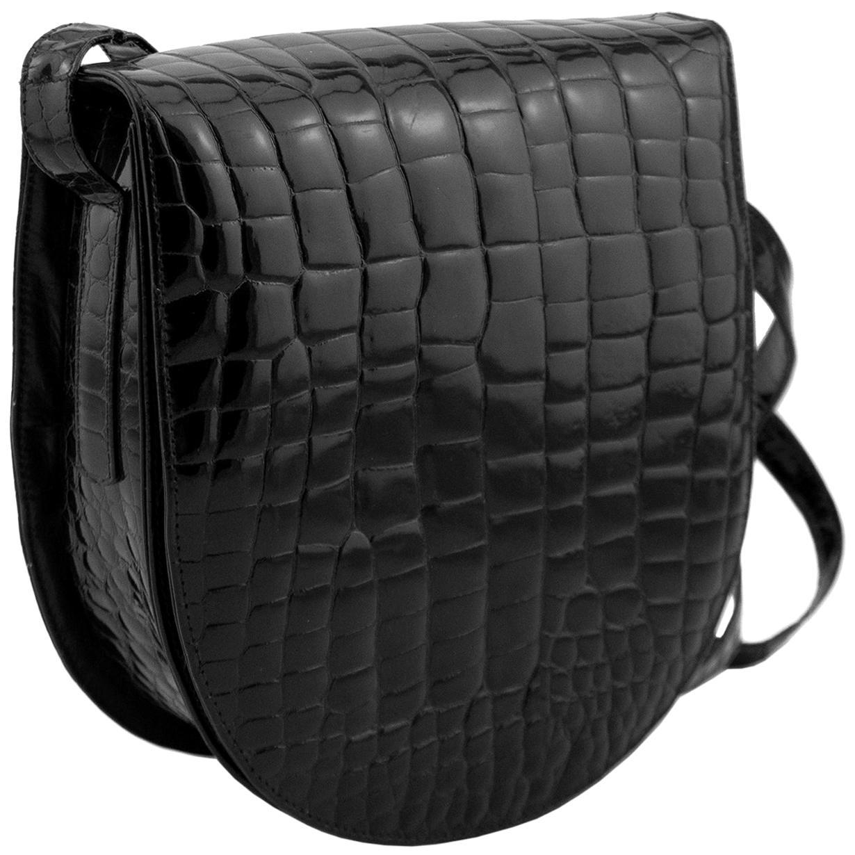 1980s Maude Frizon Black Stamped Leather Crossbody Bag