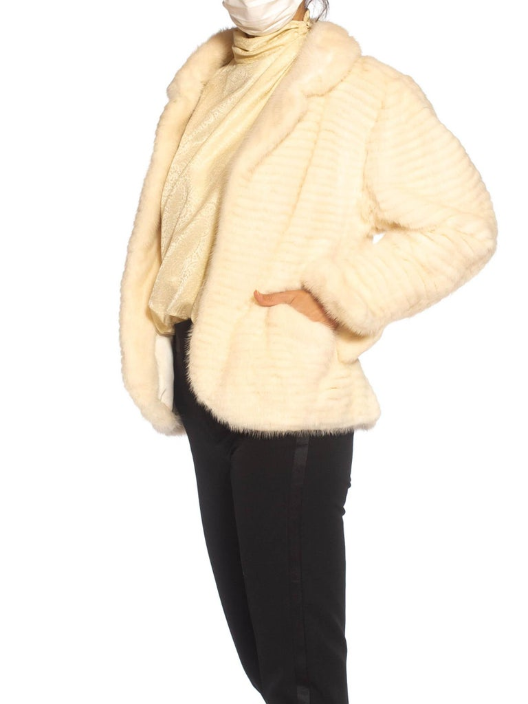 1980S MAXIMILIAN White Mink Fur Perfect Little Jacket In Excellent Condition For Sale In New York, NY