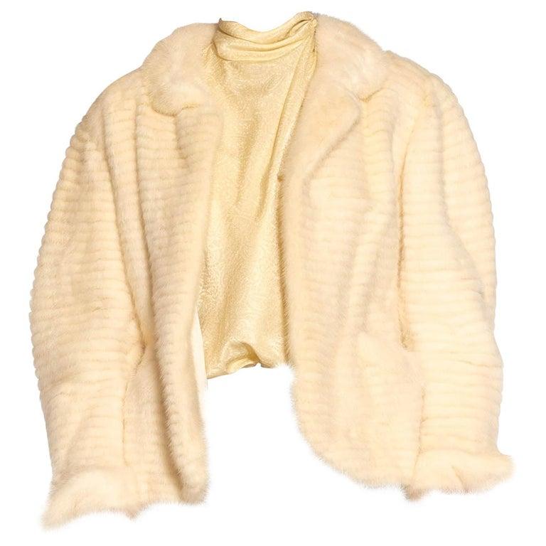 1980S MAXIMILIAN White Mink Fur Perfect Little Jacket For Sale