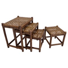 1980s McGuire Modern Rattan and Laced Leather Nesting Tables or Stools Set of 4