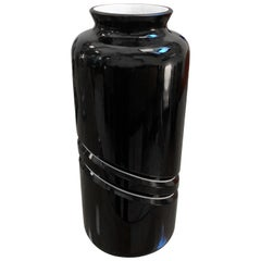 1980s Memphis Milano Style Black and White Murano Glass Vase by De Majo
