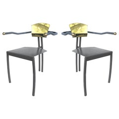 1980s Memphis Style Metal Chairs with Brass Accents, a Pair