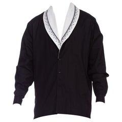 1980'S GIANNI VERSACE Black & White Cotton Piqué Men's Shirt