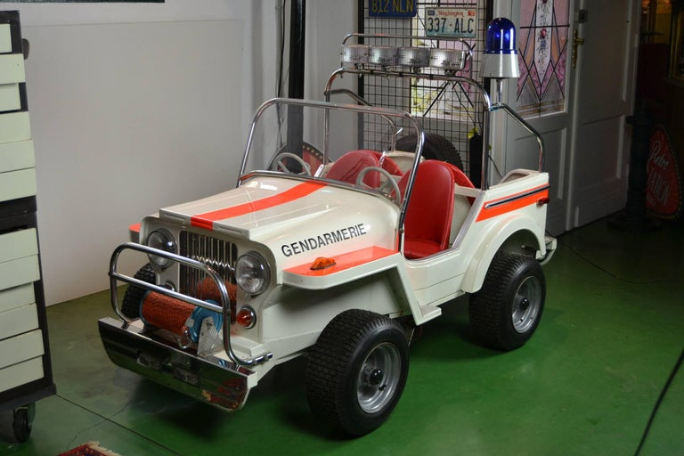 1980s Metal Carousel Police Jeep by  L' Autopède Belgium , Type Renegade Jeep For Sale 5