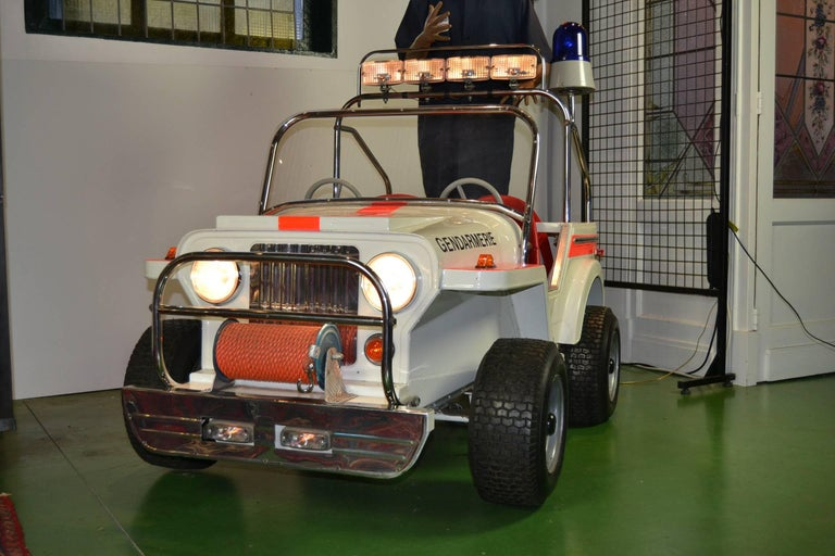1980s Metal Carousel Police Jeep by  L' Autopède Belgium , Type Renegade Jeep For Sale 12