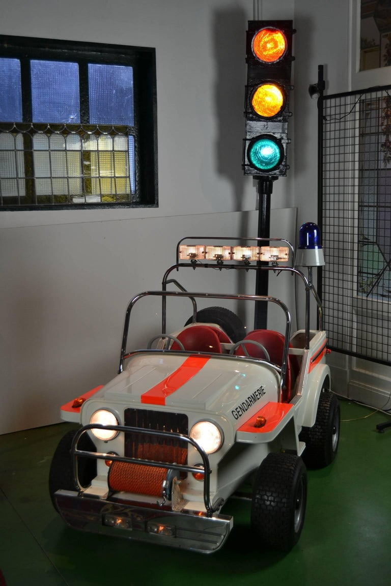 Exceptional Fairground Jeep , a Metal Children's Jeep Car made by Atelier L' Autopède Belgium. It was Handmade in the Eighties by Alain Baeyens, the Son of Karel Baeyens.  They were specialised in making Metal Carousel Rides.  The quantity of items