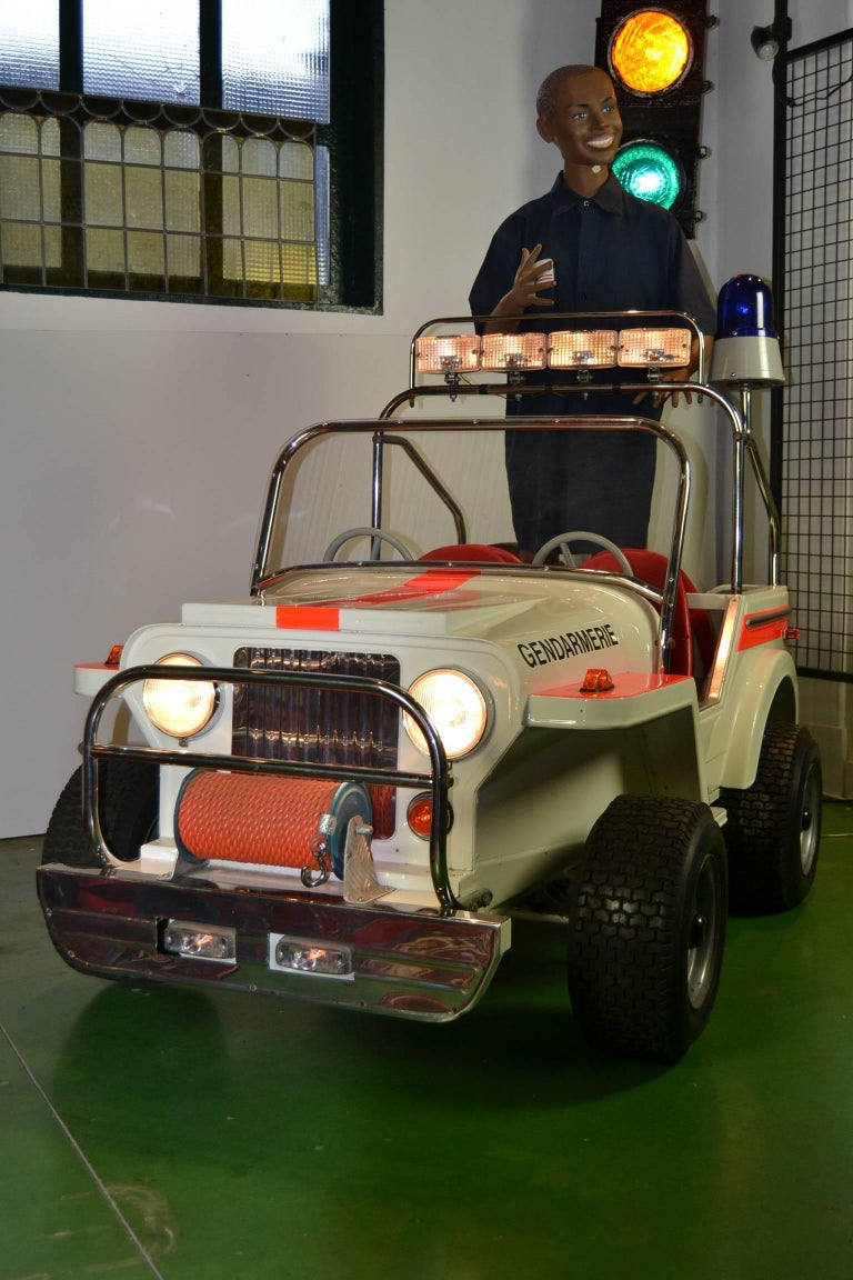 Belgian 1980s Metal Carousel Police Jeep by  L' Autopède Belgium , Type Renegade Jeep For Sale