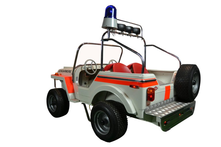 Late 20th Century 1980s Metal Carousel Police Jeep by  L' Autopède Belgium , Type Renegade Jeep For Sale