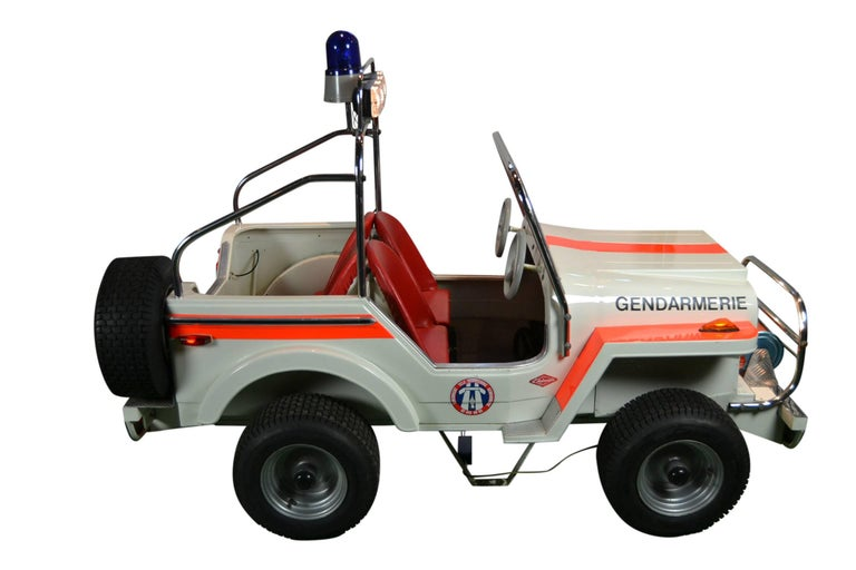 1980s Metal Carousel Police Jeep by  L' Autopède Belgium , Type Renegade Jeep For Sale 2