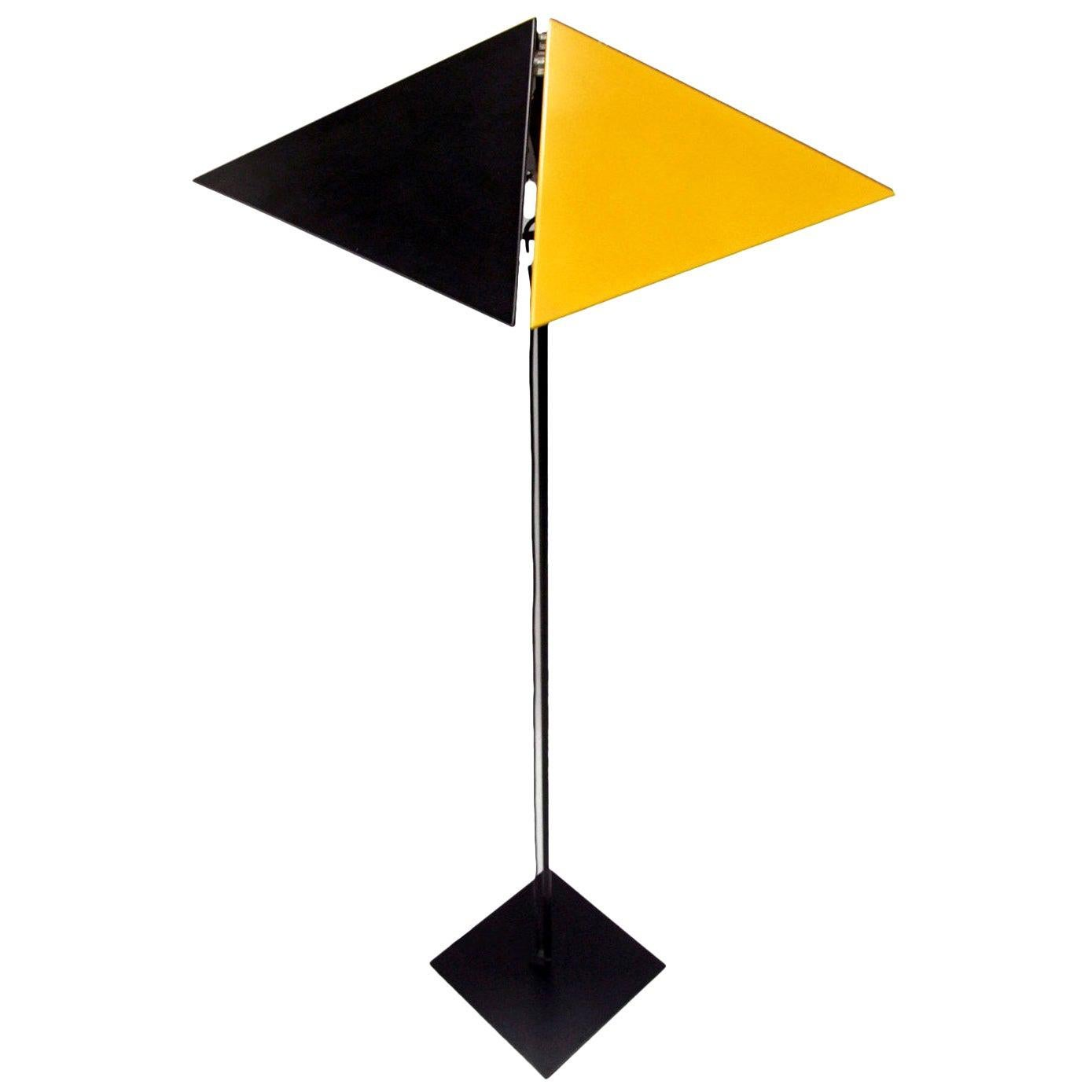 1980s Metal Postmodernist Floor Lamp by OMK Yellow and Black Memphis Style