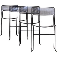 1980s Metal Stackable Dining Chair Set/4