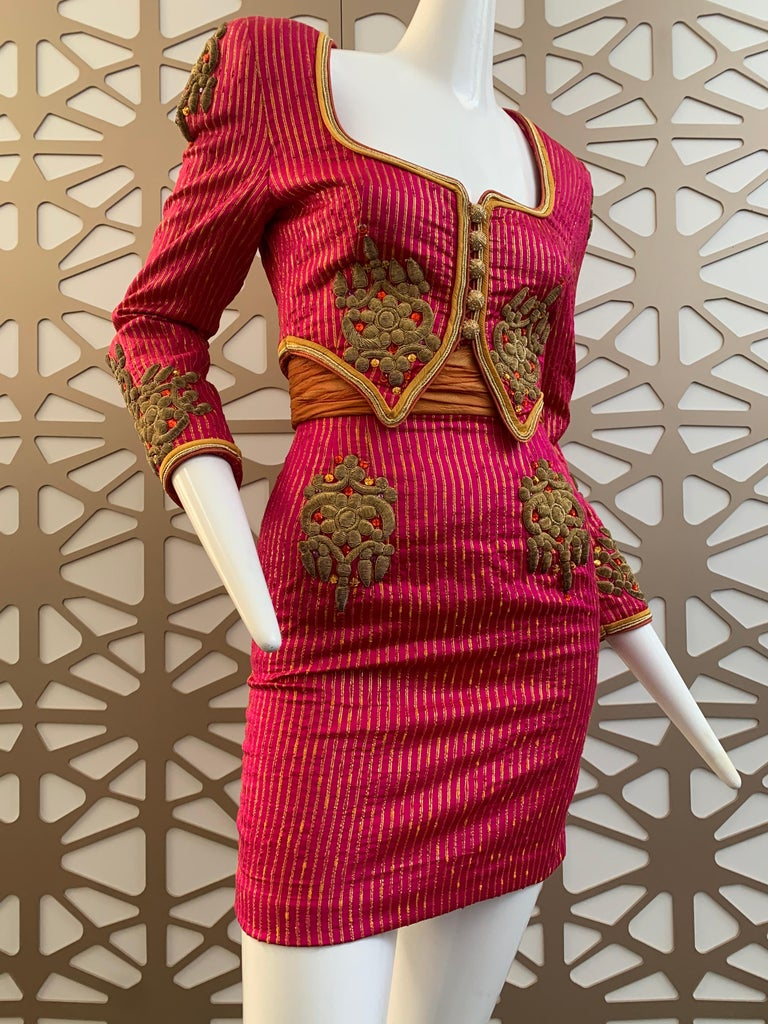 1980s Michael Casey 2-Piece Mini Skirt Suit In Fuchsia Pinstripe & Gold Braid For Sale 2