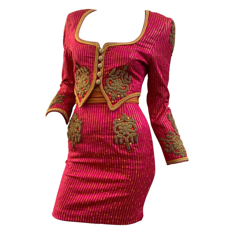1980s Michael Casey 2-Piece Mini Skirt Suit In Fuchsia Pinstripe & Gold Braid For Sale