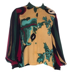 1980S MICHAELE VOLLBRACHT Silk Graphic Botanical Printed Blouse