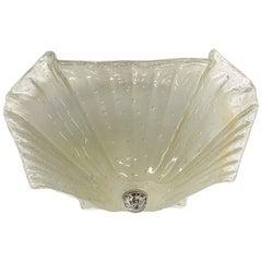 1980s Mid-Century Modern Lucia Murano Glass Ruffled Edge Flushmount Fixture