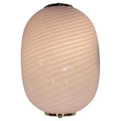 1980s Mid-Century Modern Pink Striped Murano Glass Oval Wall Sconce, Quantity