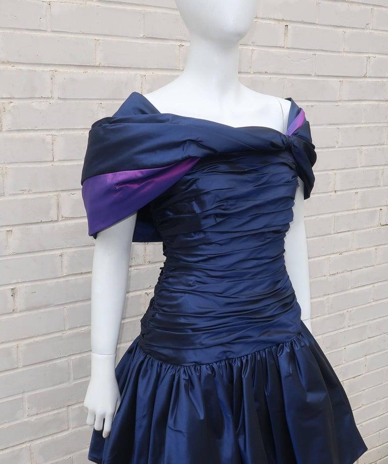 Mignon Blue Taffeta Dress With Dramatic Shoulder Drape
