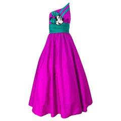 1980s Mike Benet X Disney Limited Edition Minnie Mouse One Shoulder Purple Gown