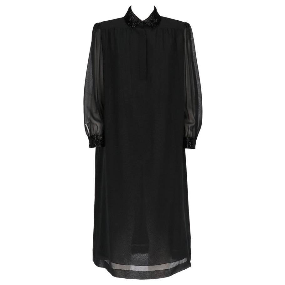 1980s Mila Schön Black Midi Dress