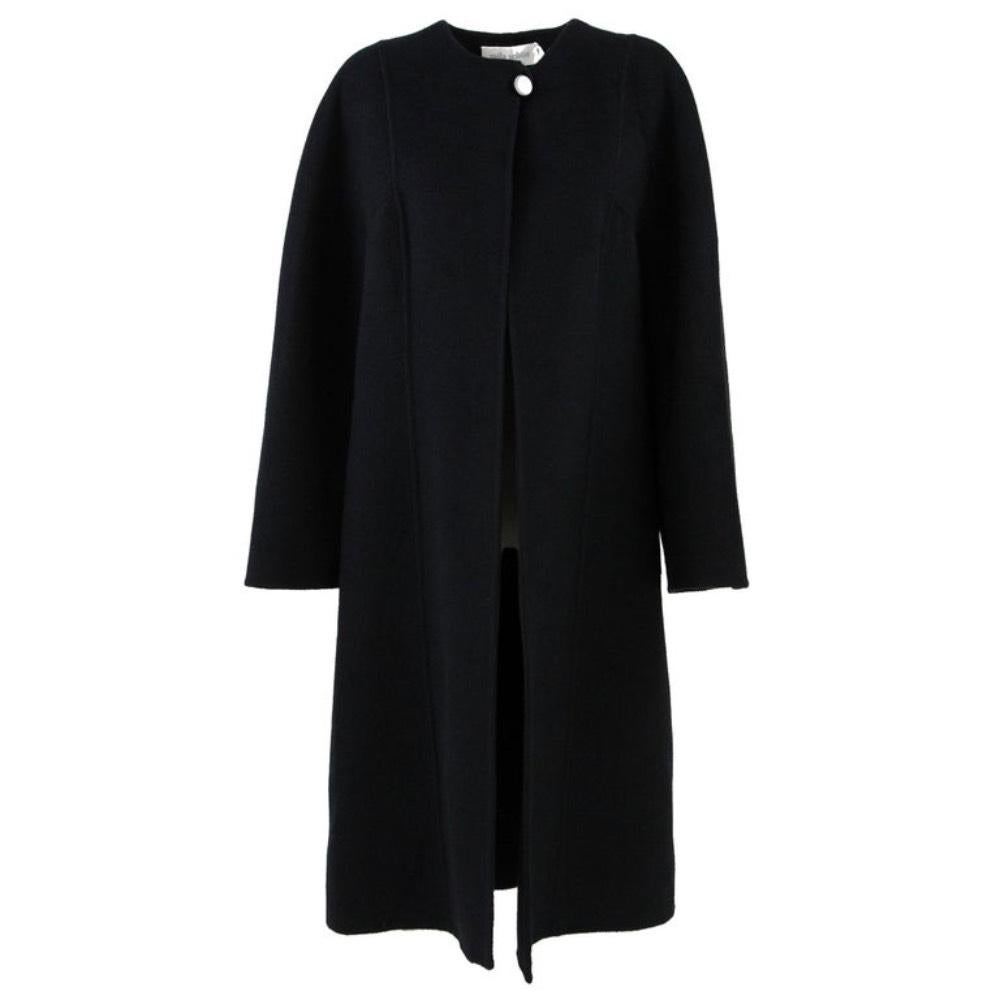 1980s Mila Schön Black Wool Coat