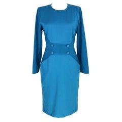 1980s Mila Schon Turquoise Wool Sheath Dress