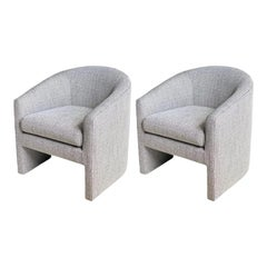 1980s Milo Baughman Style Barrel Side Chairs, a Pair