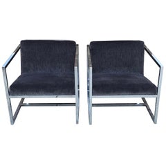 1980s Milo Baughman Style Chrome Chairs in Gray Scalamandré Velvet, Pair
