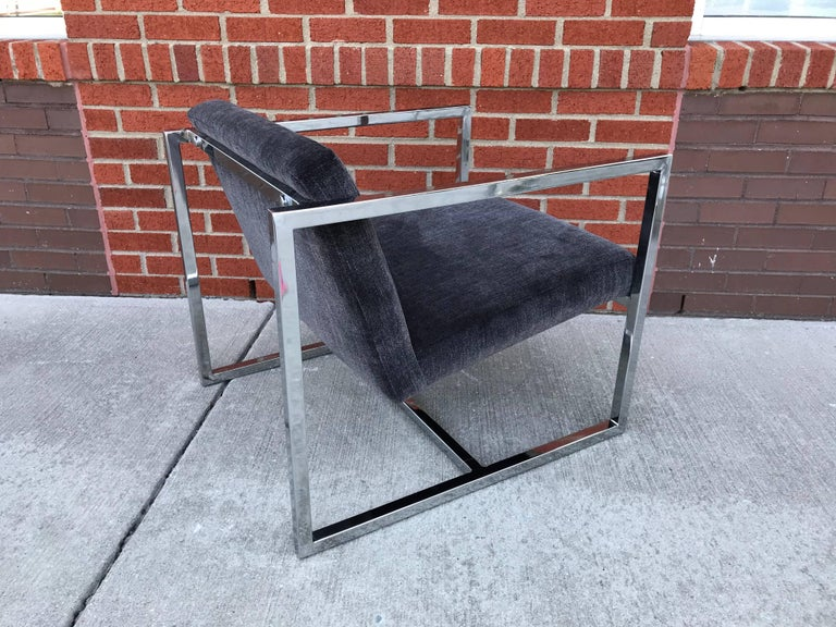 1980s Milo Baughman Style Chrome Cube Chairs in Gray Scalamandre Velvet, Pair For Sale 4