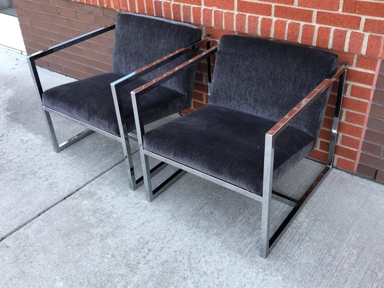 Modern 1980s Milo Baughman Style Chrome Cube Chairs in Gray Scalamandre Velvet, Pair For Sale