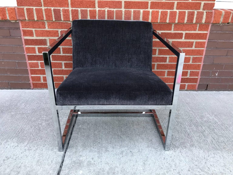20th Century 1980s Milo Baughman Style Chrome Cube Chairs in Gray Scalamandre Velvet, Pair For Sale
