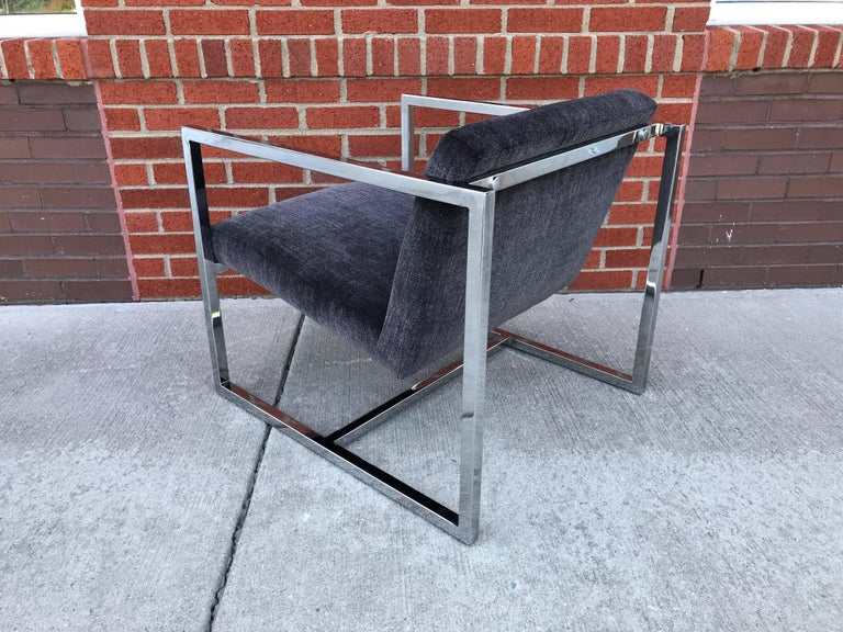 1980s Milo Baughman Style Chrome Cube Chairs in Gray Scalamandre Velvet, Pair For Sale 2