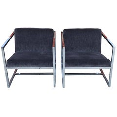 1980s Milo Baughman Style Chrome Cube Chairs in Gray Scalamandre Velvet, Pair