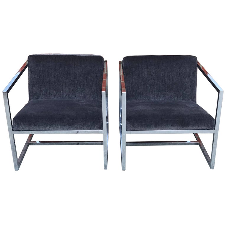 1980s Milo Baughman Style Chrome Cube Chairs in Gray Scalamandre Velvet, Pair For Sale