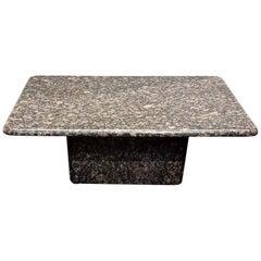 1980s Minimalist Geometric Italian Granite Coffee Table Black Tan Gray