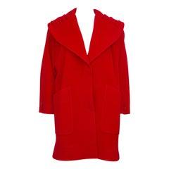 1980s Miss V Valentino Red Wool Swing Coat