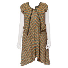 1980S MISSONI Earth Tone Wool Blend Knit Dress With Matching Vest