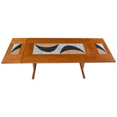 1980s Modern Danish Teak Decorative Stone Top Dining Table Signed by the Artist