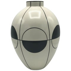 1980s Modern Gray and White Ceramic Vase