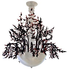 1980s Modern Italian White Murano Glass Chandelier with Organic Coral like Decor