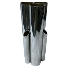 1980s Modernist Silver Plated Italian Multi Vase in the Manner of Giò Ponti
